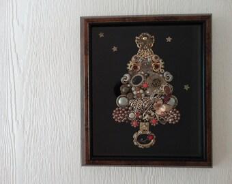 Vintage Jewlery Christmas Tree ,Christmas decor,Holiday Decor, Cottage Christmas