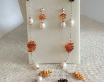 Handmade sets amber necklace and freshwater pearls 925 sterling silver