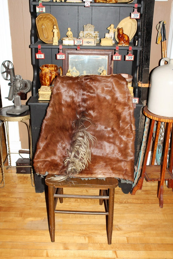 Antique Western Horsehide Blanket Lap Robe for Sleigh or Buggy 62 x 55