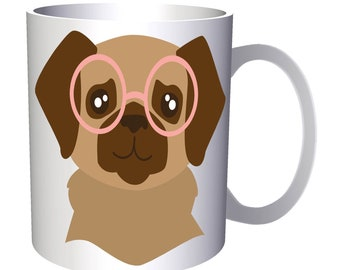 Dog in hipster glasses 11oz Mug v983