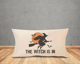 Halloween pillow cover-Halloween decor-the witch is in pillow cover-Halloween lumbar pillow-rustic pillow-home decor-by NATURA PICTA-NPLP002