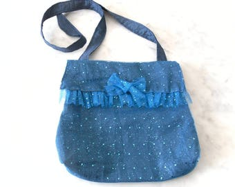 Festive bag sequined tulle and blue taffeta with flap.
