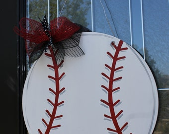 Wood Baseball Door Hanging