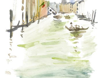 Gondola in Venice CARD/Or Print Watercolour