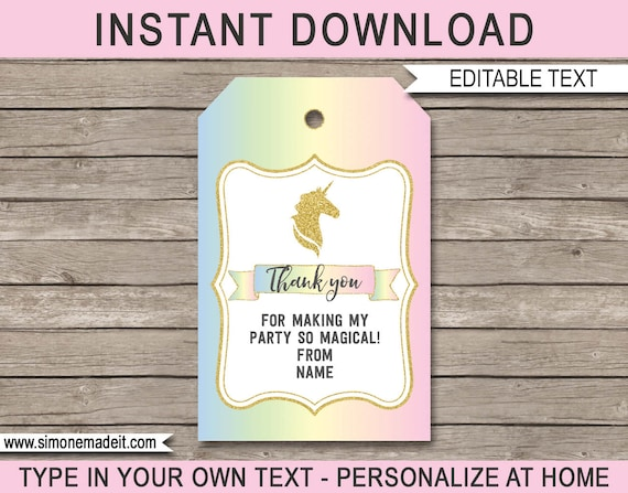 unicorn favor tags unicorn thank you tags birthday party