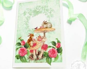 Rabbit card, woodland, forest, tea party, birthday card, Easter card, bunny rabbit, blank, all occasion card