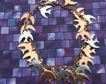 Blue bird sparrow charm bracelet hand made bird bracelet gold bronze silver bracelet free spirit jewelry bird charm bracelet bird jewelry
