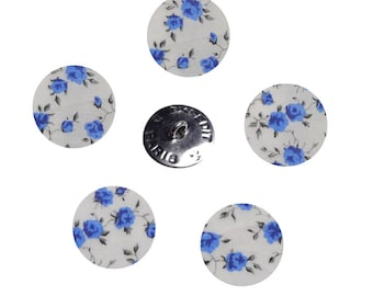 Buttons liberty Nina blue x 5 size option, buttons are made in France
