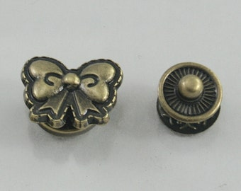 4 sets.Antique Brass Bow Ribbon Snaps Buttons Fasteners Rivets Studs Decorations Findings 17 mm. FTN BR 17 RV 84