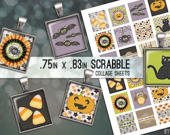 Halloween Cat Bat Pumpkin Digital Collage Sheet Scrabble Tile .75x.83 Images 4x6 8.5x11 Download Sheets for Glass Resin Pendants E0073