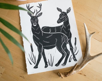 White-Tailed Deer block print