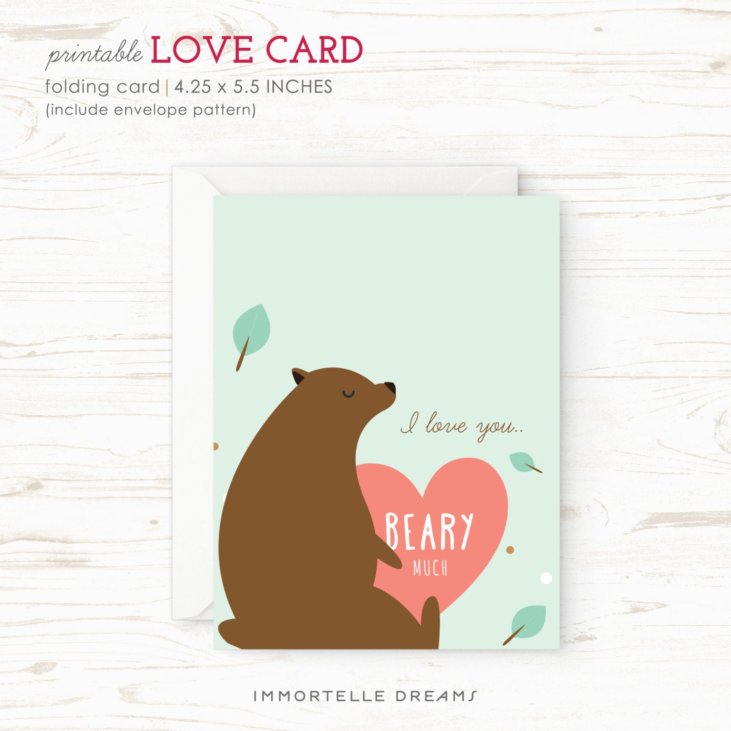 I Love You Beary Much Printable Valentine Card Love Card