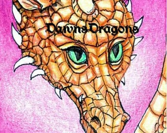 ACEO print pink joy dragon