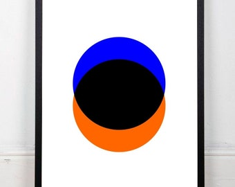 Geometric art, blue and orange print, circles print, abstract print, geometric print, abstract wall decor, instant download, 18x24 print