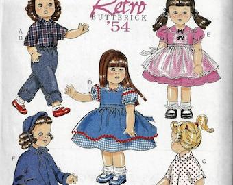 "Butterick  Pattern #B6150 Retro Butterick '54 Vintage 18"" Doll Clothes 5 Outfits Uncut Factory Folds"