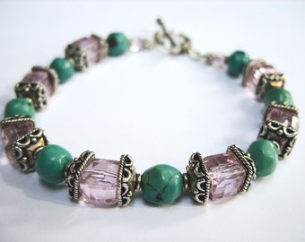 Turquoise and Crystal Bracelet
