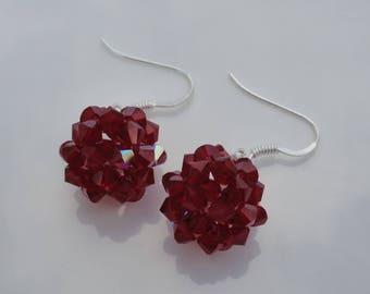 Burgundy Red Swarovski Crystal Pearl ball earrings
