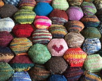 Beekeeper Quilt Starter Kit, Craft Kit, DIY gift, mini skeins, knit quilt scrap quilt hexipuff knitting gift, sock yarn handpainted option