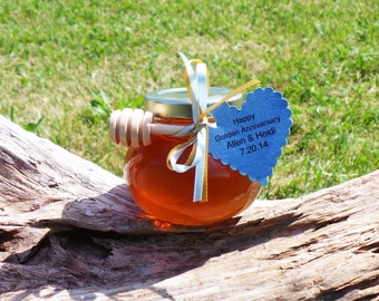 Unique Thank You Gift, Raw Honey - Facetted Jar,  14 Jars