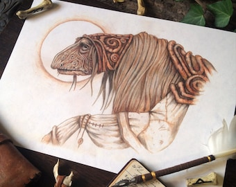 "A4 ""Urac the Scribe"" Dark Crystal Coffee Illustration Drawing Print"