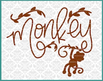 CLN0660 Monkey Boy Girl Baby Hand Lettered Drawn Hanging SVG DXF Ai Eps PNG Vector Instant Download Commercial Cut File Cricut Silhouette