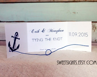 Nautical tying the knot save the date set of 25, tie the knot, save the date cards, nautical save the dates, nautical wedding, anchor cards