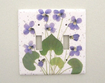 Double sweet violets light switch cover switchplate