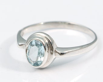 Blue topaz 92.5 sterling silver ring size 8 us