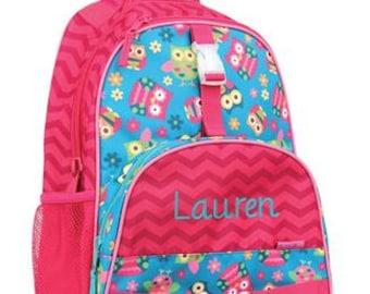 Personalized Girls  Backpack- Preschool Backpack OWLS Backpack Stephen Joseph Backpack