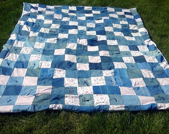 Shabby Chic Upcycled Patchwork Quilt - Rustic Twin Size Hugs and Kisses Quilt - XandOs