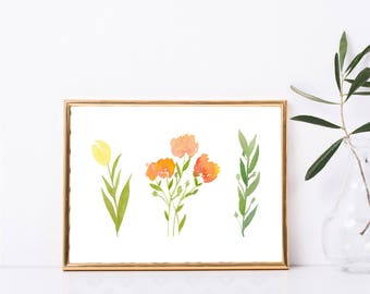 Instant Download, Floral Print, Watercolor Botanical Flower Printable Wall Art, Tulip Wall Print, Wall Decor, Instant Digital Download