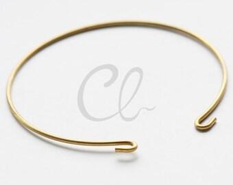 6 Pieces Raw Brass Cuff Bracelets - Bangle 65x1.4mm (1813C-U-253)