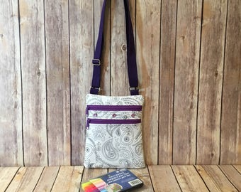 Purple Color Me Bag - Messenger Bag - Coloring Bag - Kids Messenger Bag - Paisley Bag - Color Your Own Bag - Mini Messenger Bag - Kids Gift