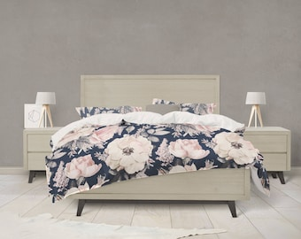 Navy bedding etsy navy and pink watercolor floral bedding gumiabroncs Choice Image