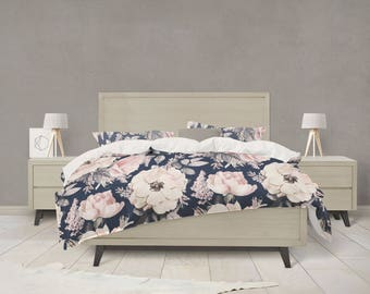 Navy And Pink Watercolor Floral Bedding