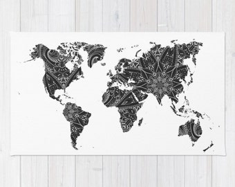 World map rug etsy area floor rug world map black white mandala throw woven rectangle home dorm apartment decor gumiabroncs Choice Image