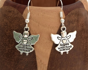 Angel antique silver message, small clip earrings antique silver Angel