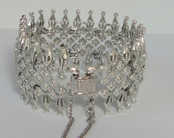 CORO Pegasus Wide Silver tone Bracelet.