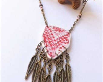 ethnic necklace, native american, boho chic, bohemian, Bargello, polymer clay, red white, metal bronze feathers, hippy style,one of a kind