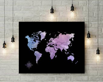 Custom World Map Poster | Watercolor Art Print | Travel World Map | World Map Guest Book | Travel Map | Anniversary Gift For Wife - 70777