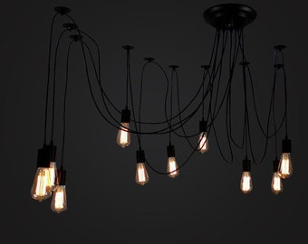 Chandeliers pendant lights etsy edison bulb ceiling lamp hanging lamp e27 squirrel cage filament light bulb diy aloadofball Choice Image