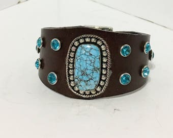 Handmade Brown Leather Turquoise Cowgirl Bracelet Cuff