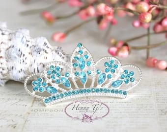 4 pcs AQUA / TURQUOISE Crystals Tiara Crowned Princess  Rhinestone Buttons, Crystal Tiara Bow Embellishment, Bridal Wedding Cake Decorations