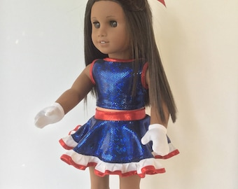 Americas Girl doll dance outfit, Tap dance outfit, Top, Skirt, Panties, Gloves & bow, Tap dance, Sewn to fit like American.Girl clothes
