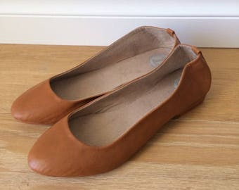 VIVIAN- Ballet Flats - Suede Shoes - 40- Tobacco leather- Available in different sizes