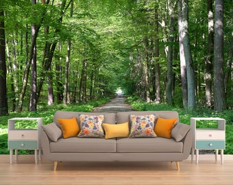 Trees Wall Covering, Tree Tunnel Wallpaper, Forest Wall Covering, Wallpaper Forest, Wallpaper Forest Trees, Forest Trees Wall Decal