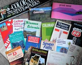Colorado Vintage Maps, Flyers, Brochures, 18 pieces, Tour Pamphlets, Post Card, Tourist Destinations, Rocky Mtns, Royal Gorge, Ghost Towns
