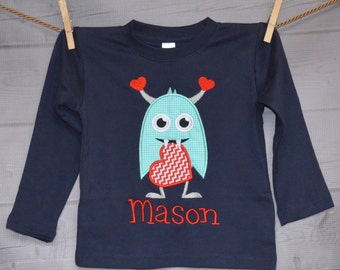 Personalized Valentine's Love Monster Heart Applique Shirt or Onesie Girl or Boy