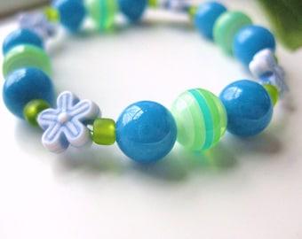 Blue and Green Beaded Bracelet with Flowers, Medium Girls Bracelet, GBM 108