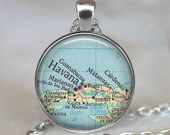 Havana map necklace, Havana map pendant map jewelry Cuba map pendant Havana Cuba necklac, key chain key ring key fob keyring